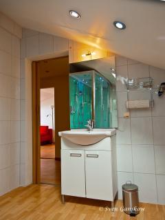 modern vanity with hairdryer, toilet is separately