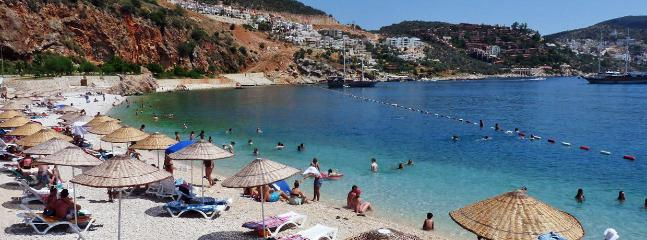 Kalkan's white pebble beach has a blue flag award for cleanliness