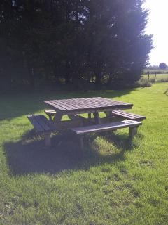 picknick table in field