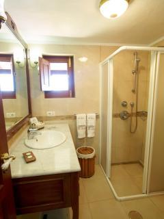 Casa Rural Tia Lucila,Baño decorado con gusto con ducha hidromasaje