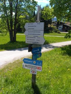 Footpaths and cycle routes, direct from Haus Heidi, this signpost is in front of the house