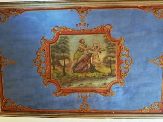 Original fresco on living room ceiling
