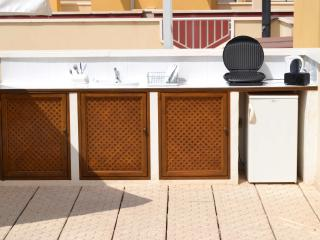 Our Self sufficient roof terrace  with a Kitchen,Fridge,Grill,Docking station,Sink & ample crockery