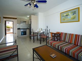 Open plan living room and kitchen at rear
