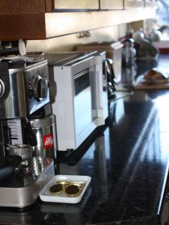 Modern small appliances including Dualit Expresso coffee