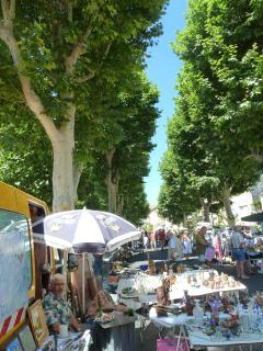The flea market in Olargues, one of many happy hunting grounds to be discovered locally.