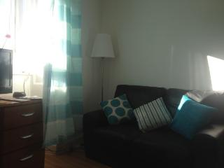 The sunny living room has freeview tv, 2 day beds and free WiFi