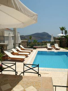 View from Kitchen window over the pool to Kalkan Bay