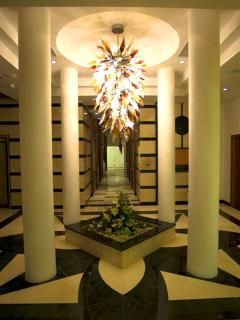 One on the reception areas leading to the Spa and indoor swimming pool