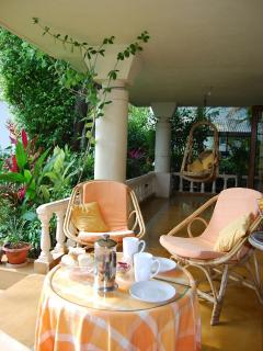 Enjoy your tea in the cool verandah facing the serene River Sal