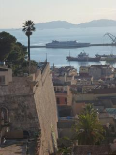 View of Cagliari port from Castello