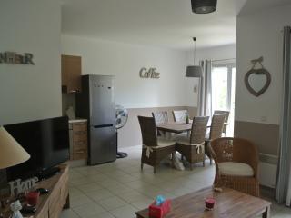 le salon/la salle à manger avec une décoration actuelle et soignée