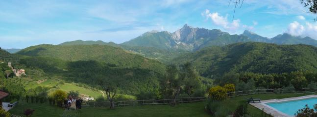 Casa Lucia and the view of the Carrara Mountains