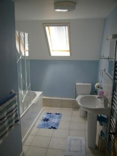 Limousin Farmhouse - Family bathroom with bath & shower