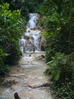 One of the seven waterfalls at Enchanted Garden Five minutes drive from apartment