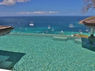 The amazing pebble stone Infinity Pool with stunning views of the Caribbean Sea