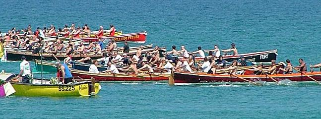 Gig rowing from Newquay Harbour