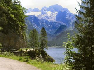 Glacier lake at head of valley