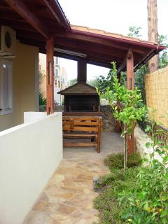 The BBQ area with dining bench