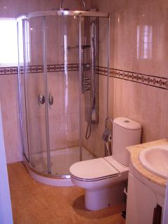 Shower room with jetted shower.