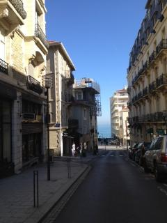 Apt is in building on left, Grande Plage in the centre and Place Clemenceau on the right