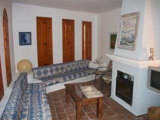 Gran salón principal con chimenea y televisor.