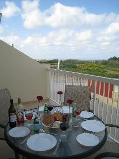 Lunch in the welcome shade of the balcony with glorious sea views