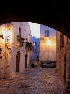 One of Ostuni's alleyways at night