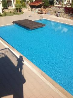 Viw of Olympic size swimming pool from the balcony of the Master Bedroom with en-suite.