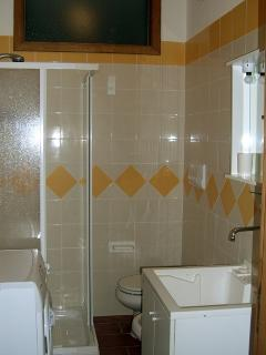 Secondary bathroom with shower and washing machine