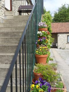 Outside steps from Courtyard to Barn sitting room, internal staircase in cottage