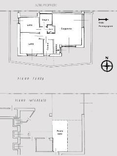La pianta della casa e del garage.