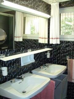 Master bathroom features double vanity, large shower, toilet, bidet; right next to master bedroom.