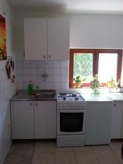 Kitchen has everything to make breakfast, lunch and dinner.Stove electric,two gas.Oven,and refrigera