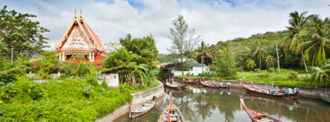 Buddist Temple and Fisherboats at Kamala Beach