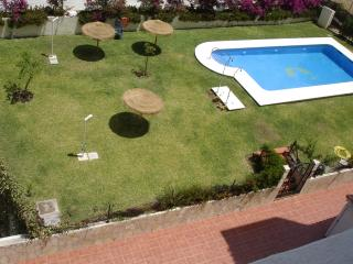 Large pool with grassed area and parasols for shade