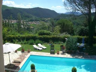 View from bedroom window overlooking the pool and surrounding hills