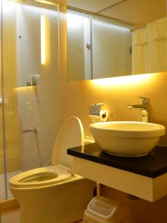 WC with bidet shower beside it. Handbasin and backlit large mirror.