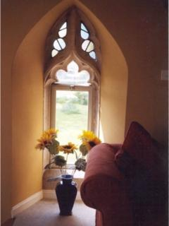 Through the arched window!
