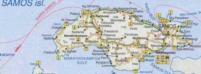 Map of Samos island