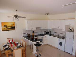 The kitchen and dining areas