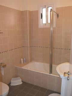 The large family bathroom with full size bath and powershower over