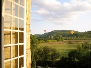 View from dining room, Fayrac Castle and the montgolfiers
