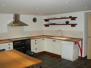 The kitchen with dishwasher, range cooker and smeg fridge