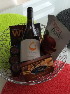 Tasmanian wine and goodies on arrival