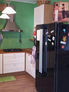 sempre nel salone, l'angolo cucina con il grande frigorifero