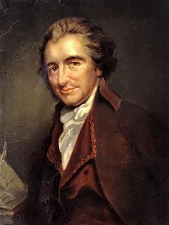 A portrait of Thomas Paine who lived in the cottage in 1759 and married in the church opposite.