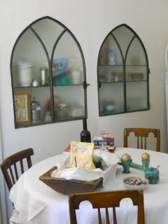 Kitchen table with cupboards