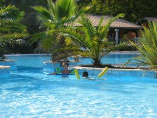 piscine partagée, 2 bassins, toboggans aquatiques