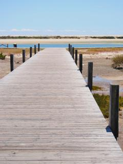 Boardwalk to the beach, Fuseta, East Algarve, Portugal